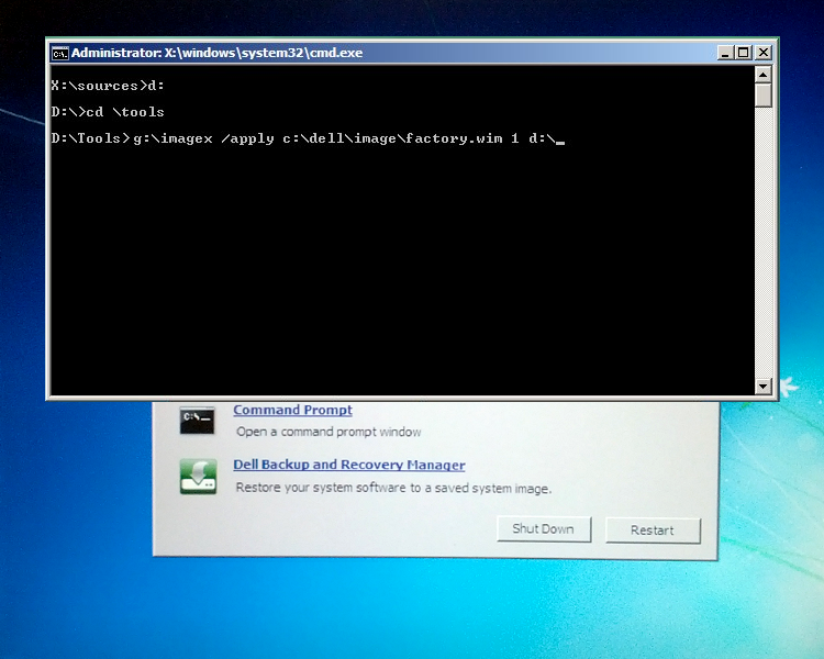 system recovery from command prompt windows 7